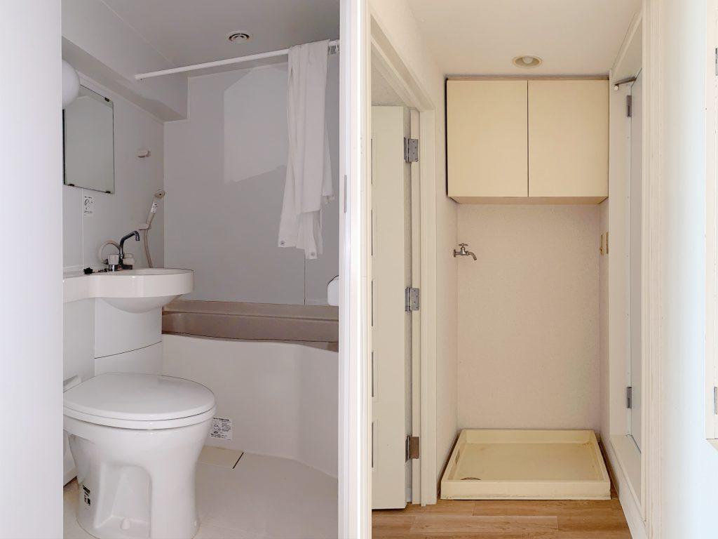 お風呂、トイレ等は三点ユニット。洗濯機置き場は水まわりのすぐそばに。