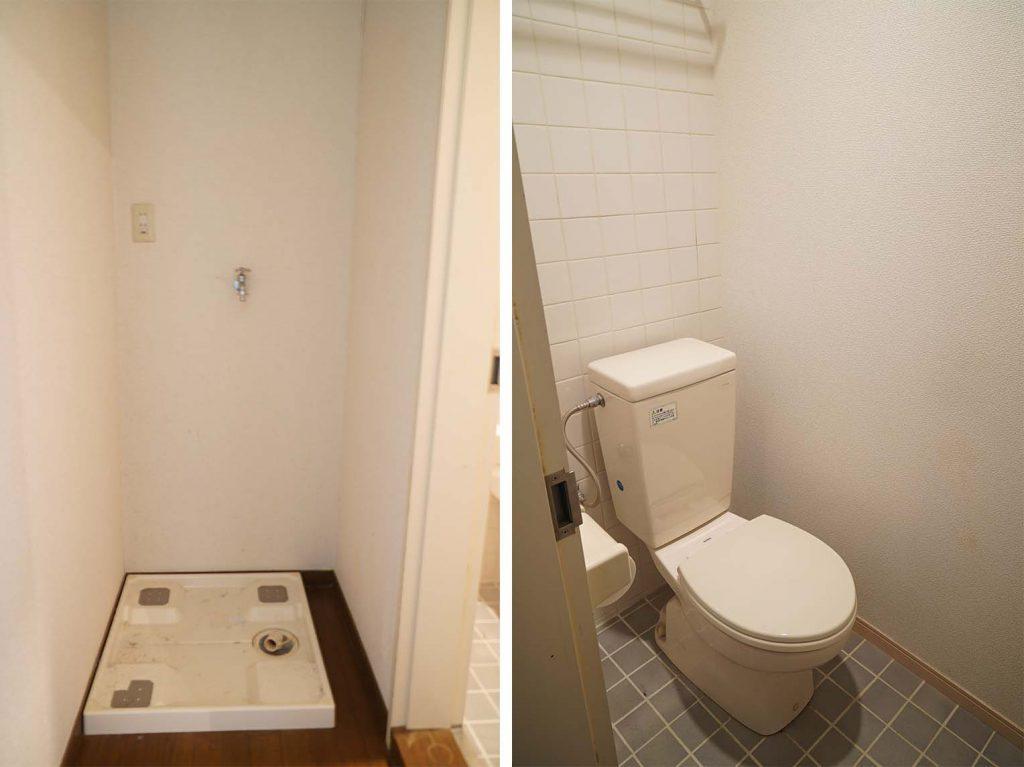 室内洗濯機置き場とトイレ。