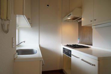 キッチンの様子。シンク側にはバルコニーにつながる窓がついています。