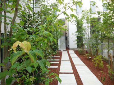 緑あふれる建物のエントランス部分。