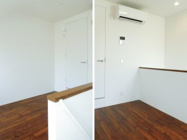 上階の様子。奥の扉の先は、バスルームと洗面スペース。洗濯機置場もここにまとまっています。