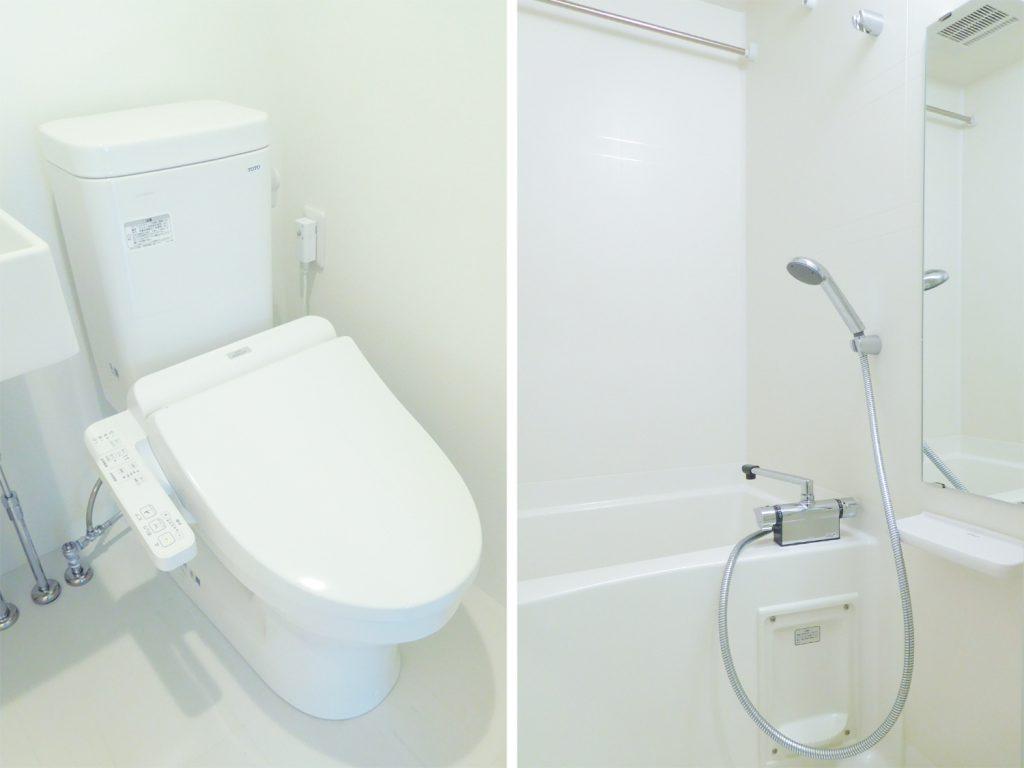ウォシュレット付きのトイレと浴室乾燥機付きのバスルーム。
