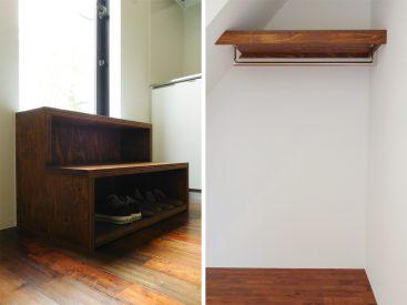 シューズボックス(写真は別部屋。実際は一段となります)と、下階にあるハンガーパイプ。