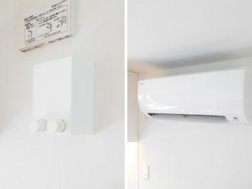 室内干し用のワイヤーとエアコン。