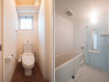 トイレはウォシュレット付き。お風呂は広さと清潔感のある気持ちのいいもの。