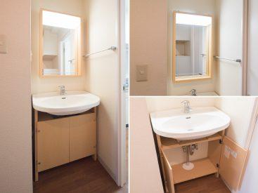 洗面台は木材をあしらったデザイン性の高いもの。