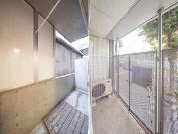バルコニーは、洋室それぞれの窓の先に。洗濯機置き場もここです(上側の洋室に)。
