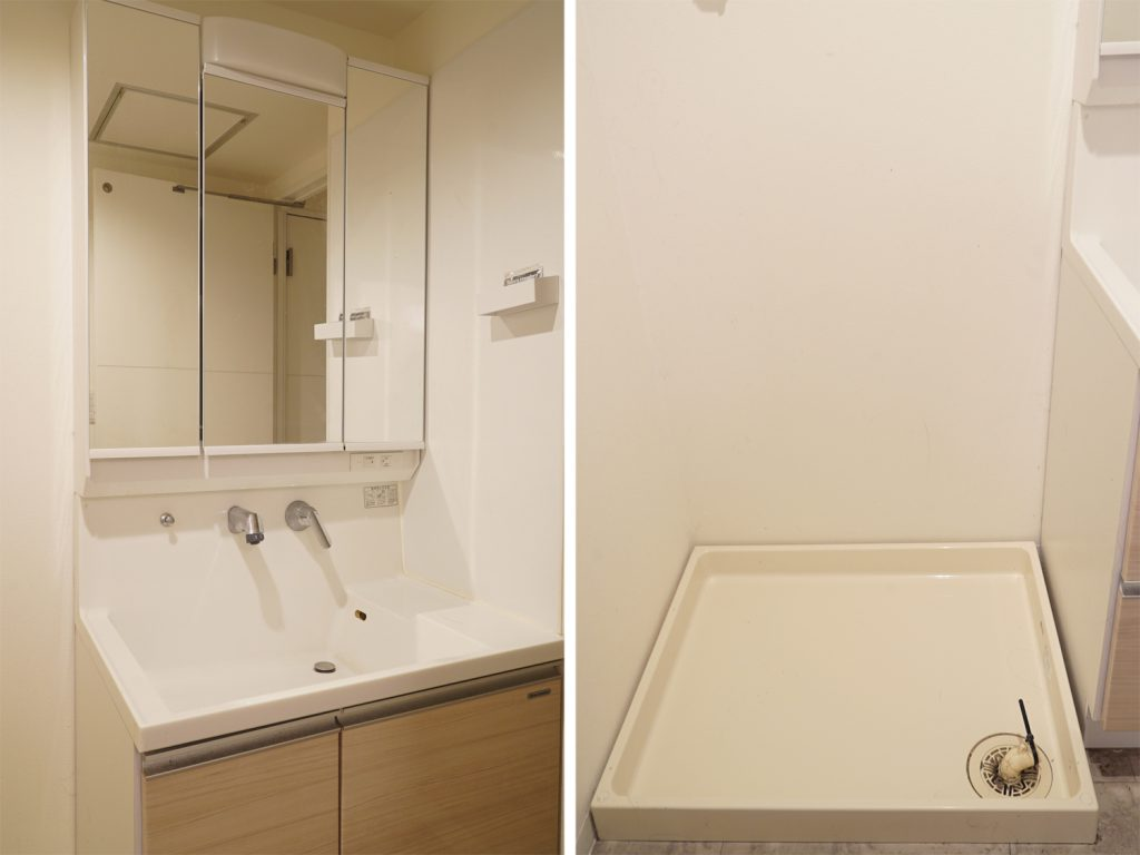独立洗面台と室内洗濯機置場。