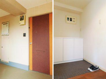 建物エントランスの階段を上がってすぐのお部屋。玄関は広めです。
