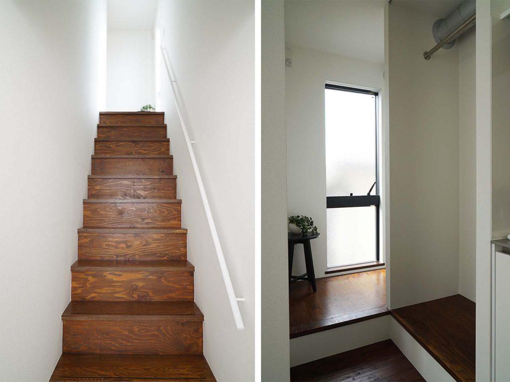 玄関からお部屋への階段と階段上