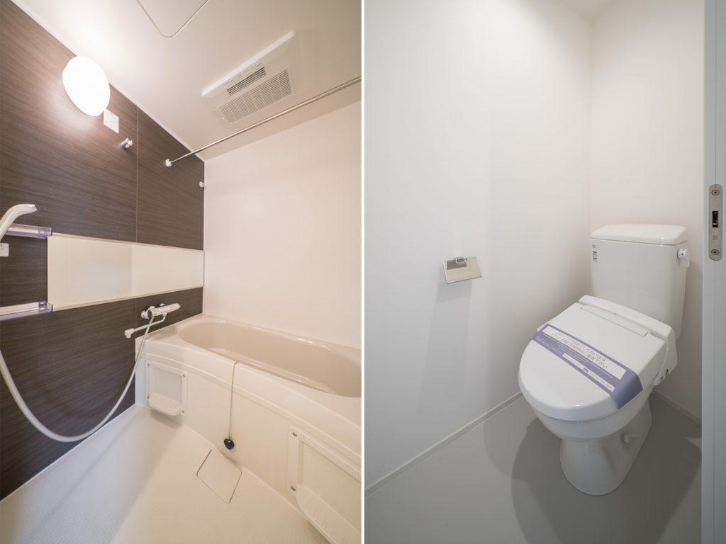 ゆとりの広さがあるお風呂、トイレも温水式。