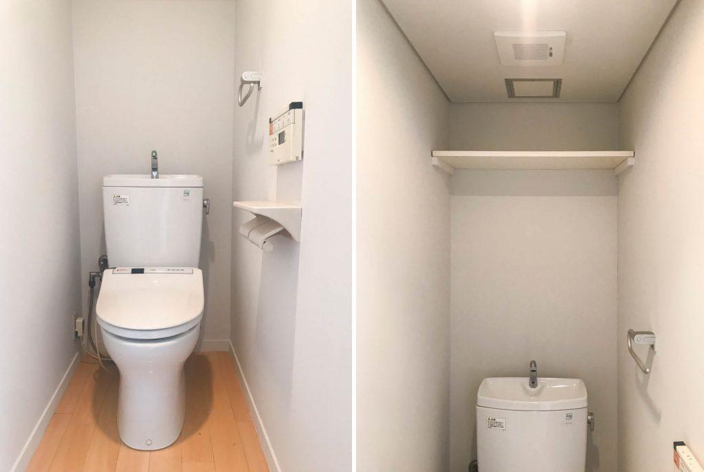 トイレは上に棚がついてます。