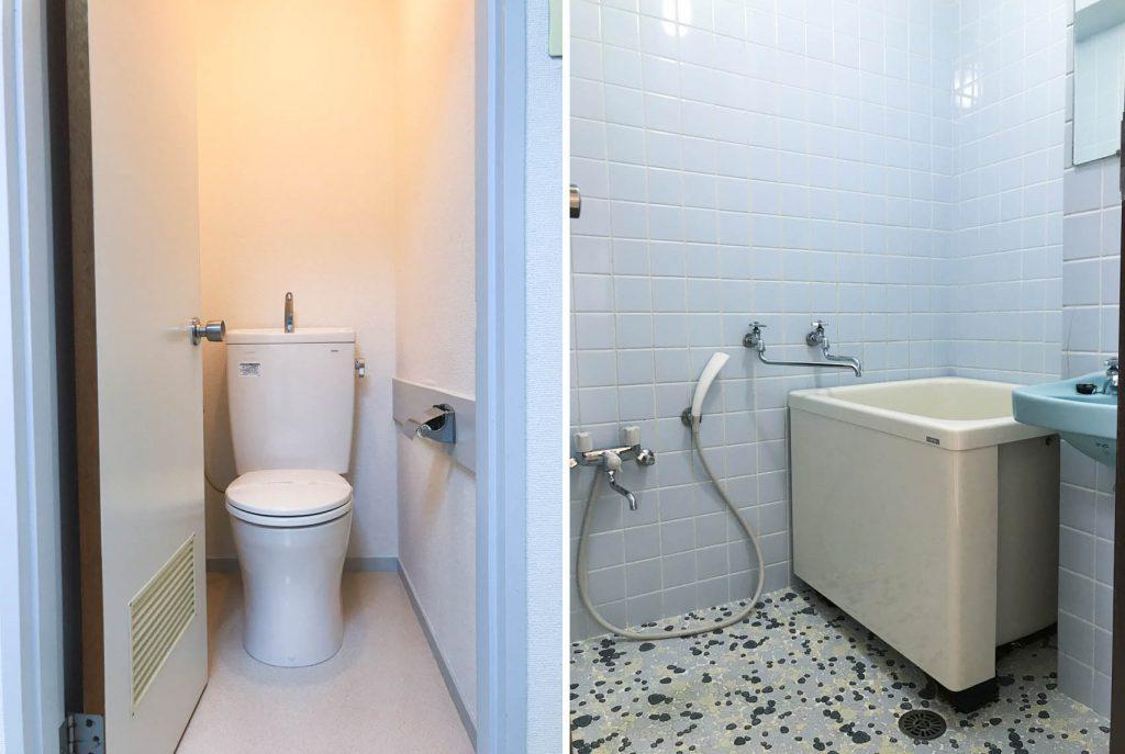 トイレとお風呂。洗面もあります。