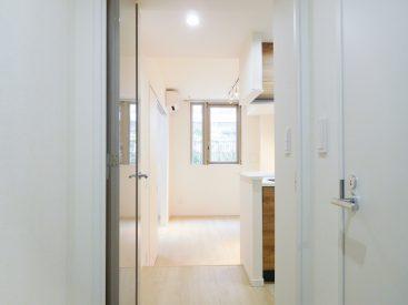 玄関からみたお部屋の様子。左手にバスルーム、右手にキッチンがあります。