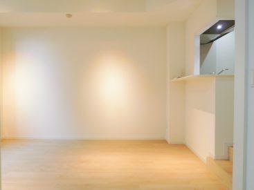 奥の洋室4.6畳から見たリビングダイニング。可動式のスポットライトがついています。