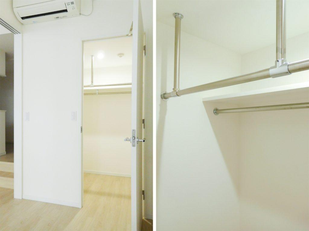 1.7畳のウォーク・イン・クローゼット。棚とハンガーパイプが2本もついております。