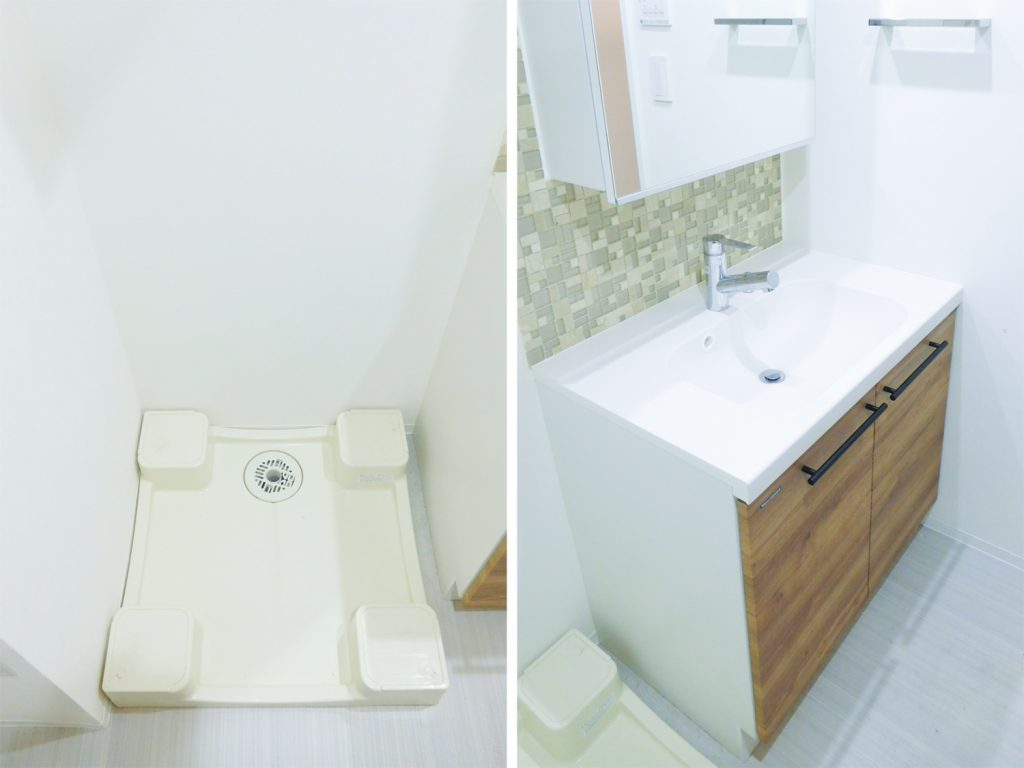 室内洗濯機置場と独立洗面台。タイルがかわいいのです。