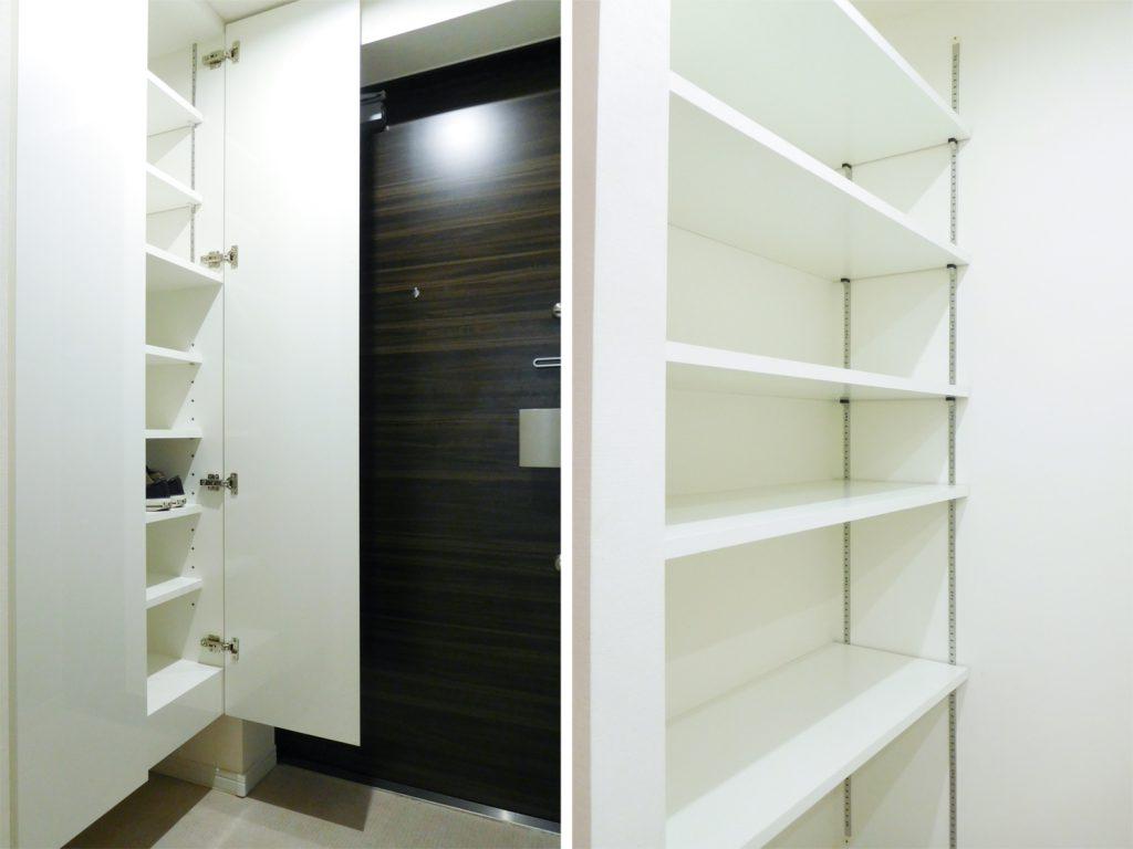 玄関にはシューズボックス、脱衣所には可変の棚が備え付けられております。