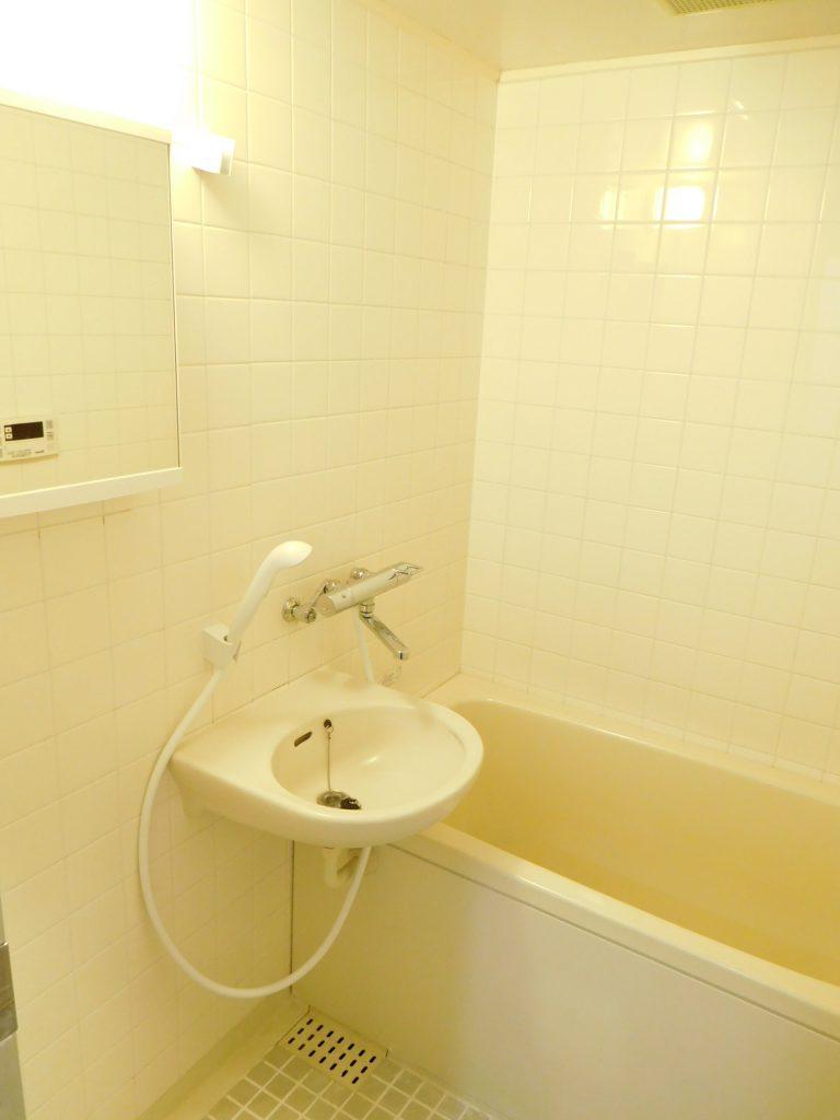 洗面台は一緒の浴室。鏡の裏、収納になってます