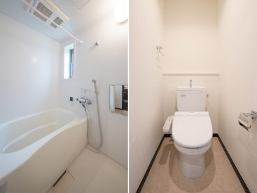 お風呂、トイレともにゆとりのあるつくり。清潔感もばっちり!