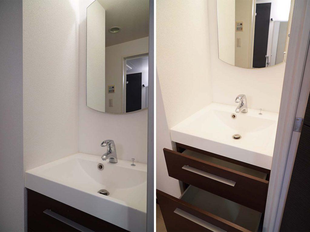 鏡の形がすてき。収納も充分。