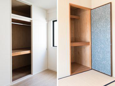 洋室と和室の収納の様子。