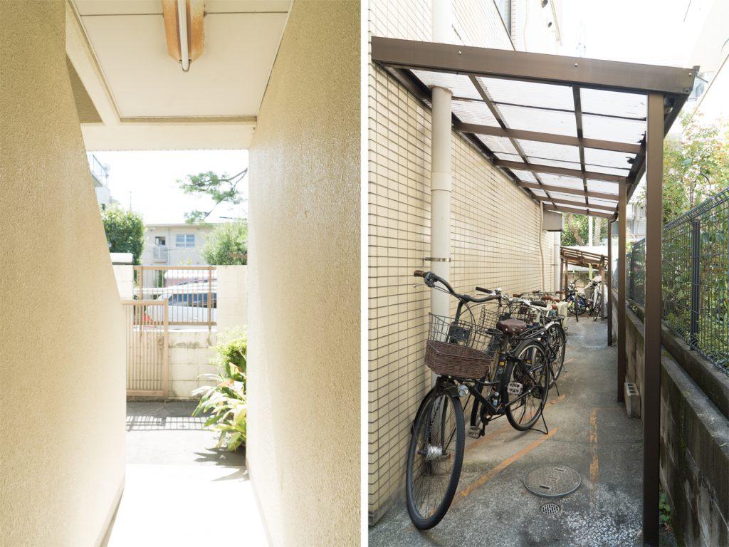 建物エントランスを入った共用部と駐輪場。