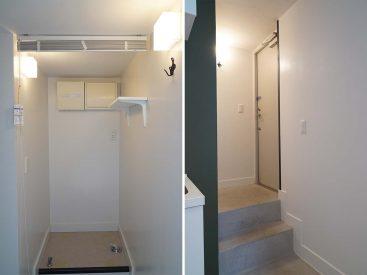 玄関とその向かいに洗濯機置き場