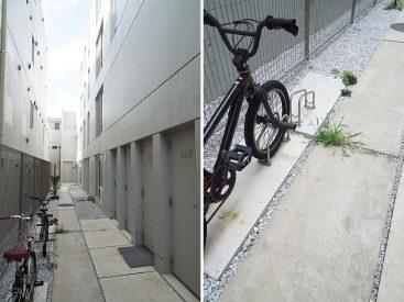 共用部とお部屋前の自転車置き場