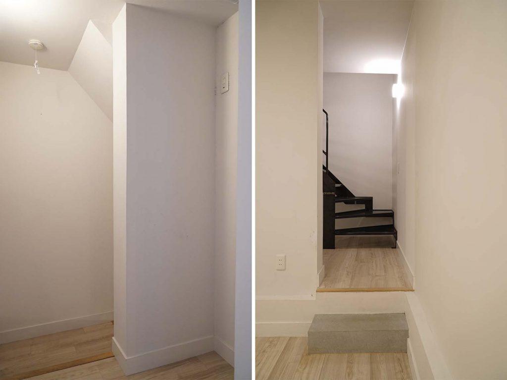 うれしいちょっとしたスペースが階段上に