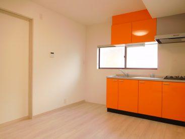 キッチン横、冷蔵庫以外に収納棚も置けますね