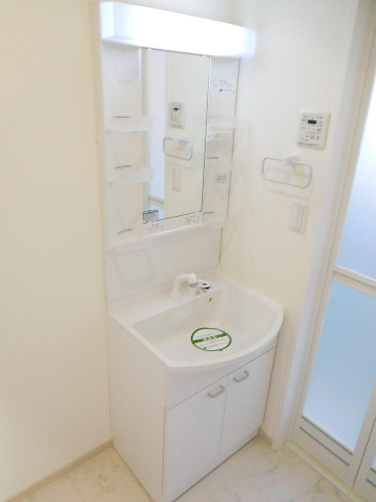 シャワー付きの独立洗面台です