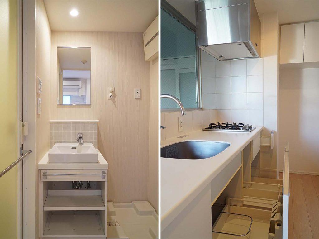 洗面スペースとキッチン収納