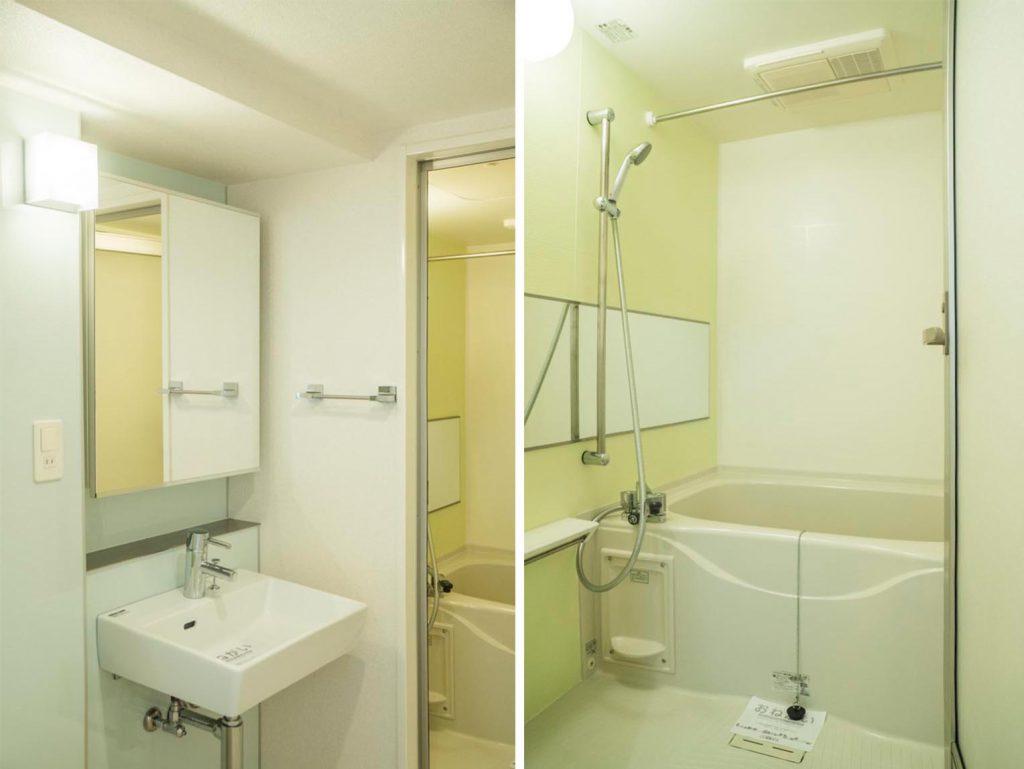 お風呂の鏡がおおきい。