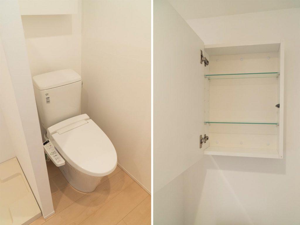 トイレの上にも収納あります。