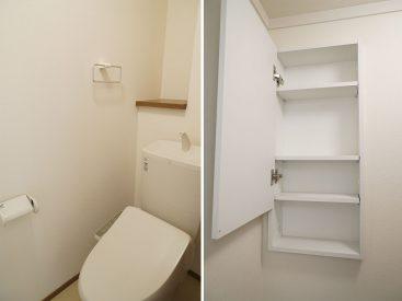 トイレに収納あります。さらにすっきり。