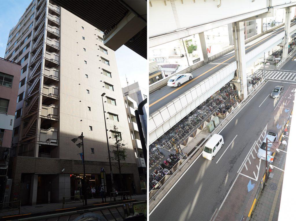 外観と建物前の様子