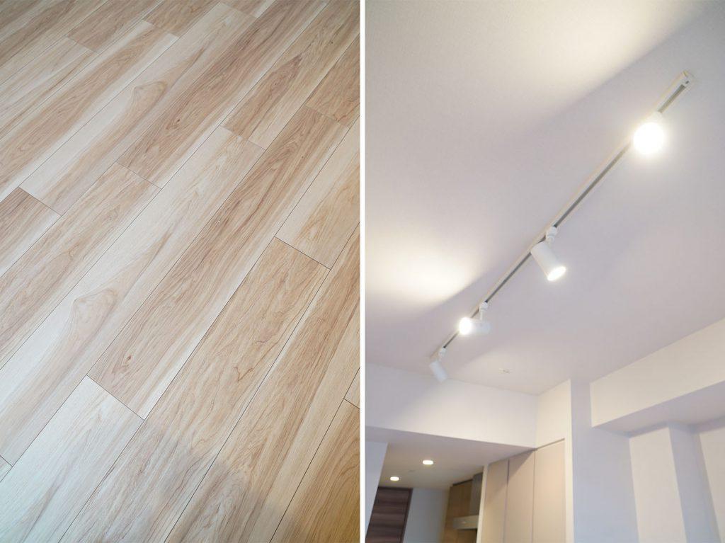 素足で気持ちのよい床・有難い照明