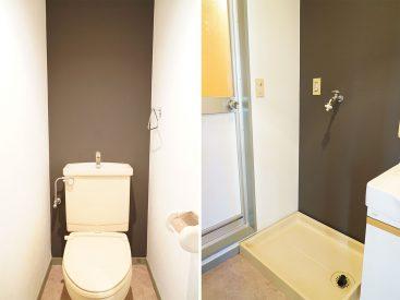 トイレと洗濯機置き場・壁紙統一されてます