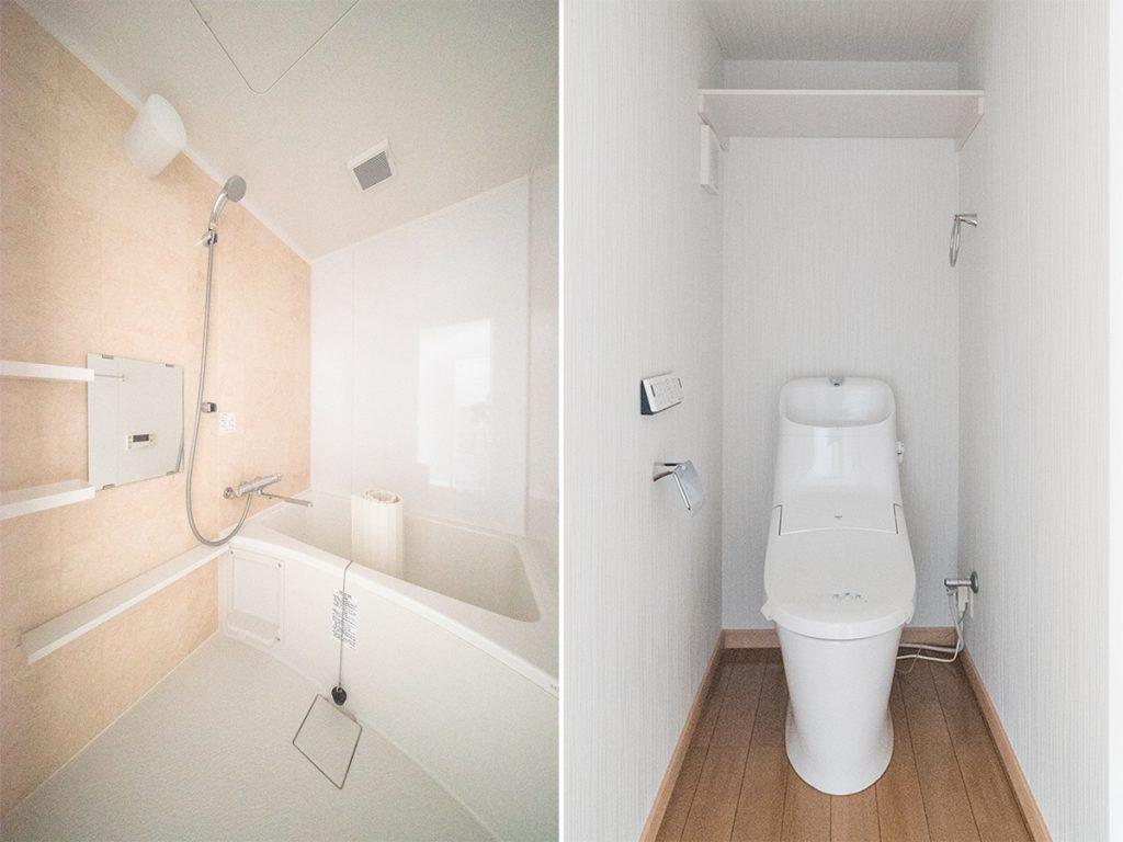 お風呂、トイレも新しいものでぴかぴか。