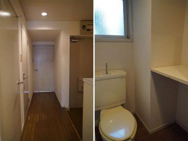 手前の扉が収納、そのお隣がトイレ