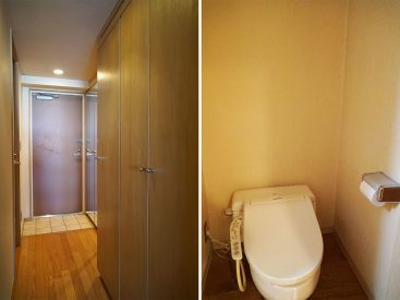 木の扉の1箇所が洗濯機置き場です