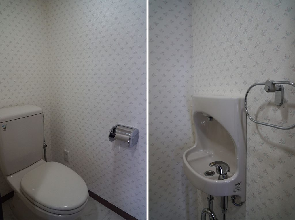 壁紙に癒されるトイレ
