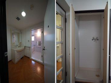 洗面スペースと洗濯機置き場