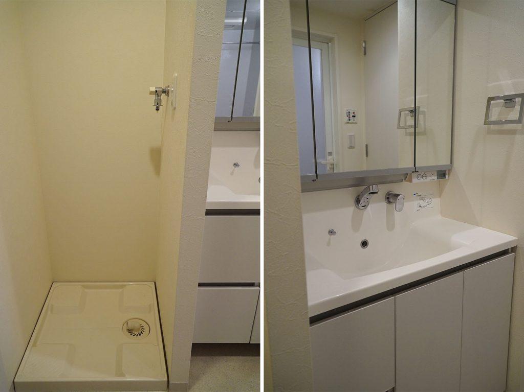 洗濯機置き場と洗面台