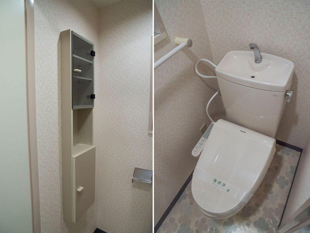 トイレには収納があります。