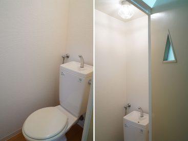 トイレのドアの窓が三角でステキでした
