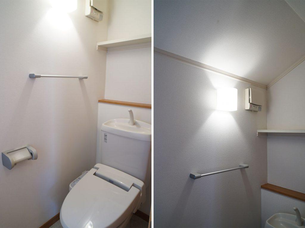 2Fにもお手洗いがあります/天井の傾斜がちょっといい