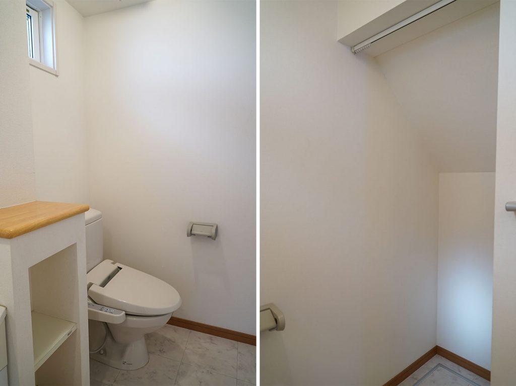 トイレの前にちょっとした収納スペースがあります