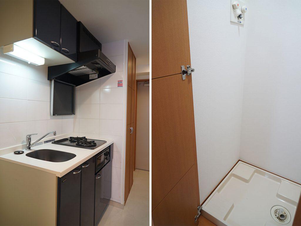キッチンの隣の扉が洗濯機置き場です
